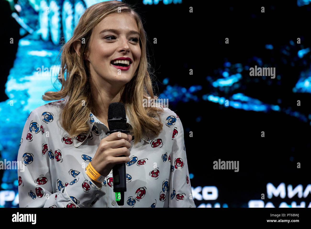"""Schauspielerin Milena Müller, bei der Vorstellung des Films """"The Balkan Line' auf der Comic Con Messe in Crocus Expo in Moskau, Russland Stockbild"""