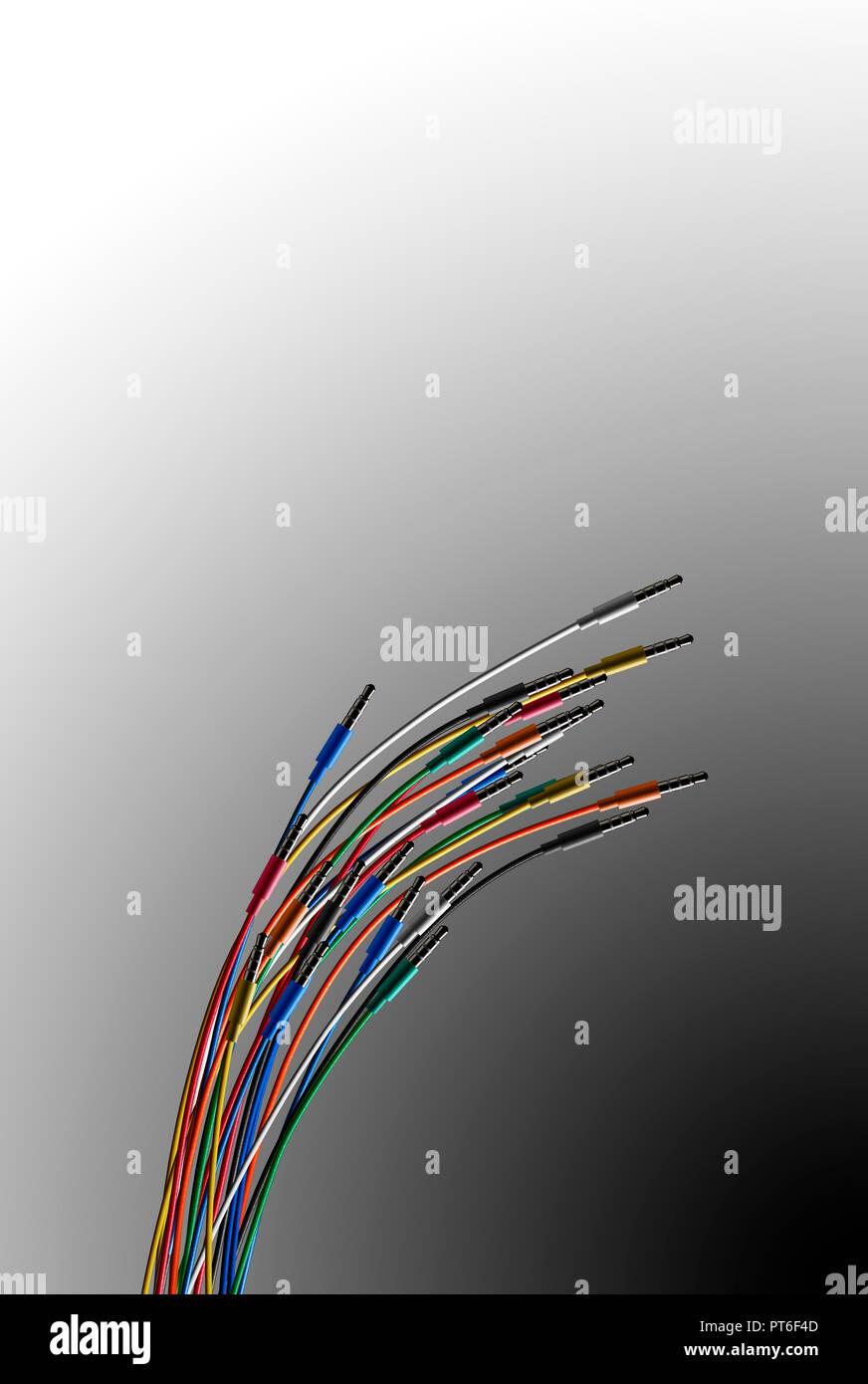 Farbige Kabel mit Klinkenstecker Stockbild
