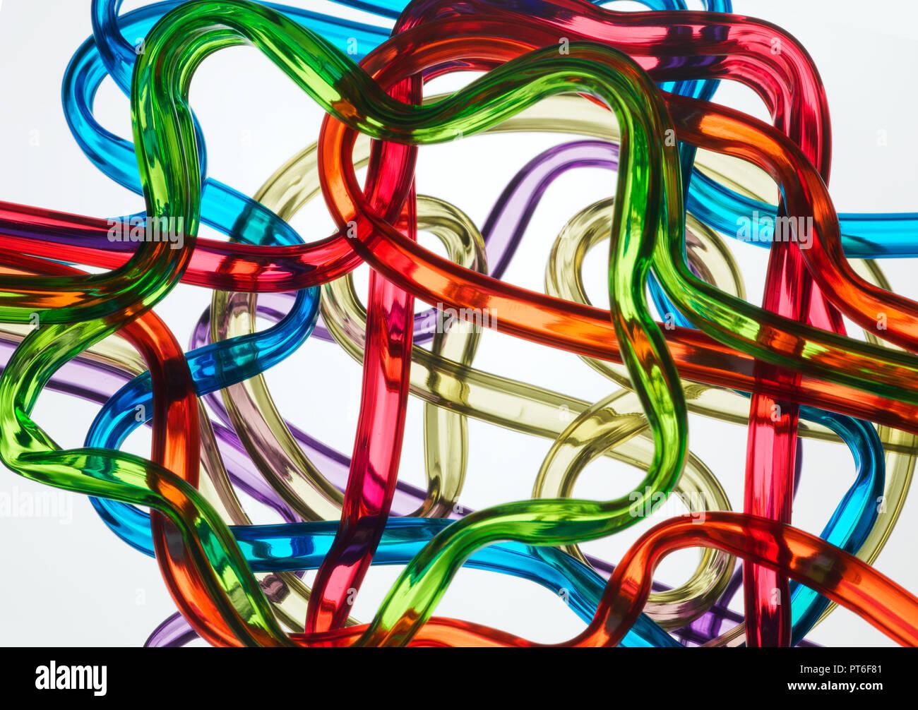 Dumme Strohhalme bilden einen farbigen komplexen Kreuzung anhand von quantitativen Simulatio Stockbild