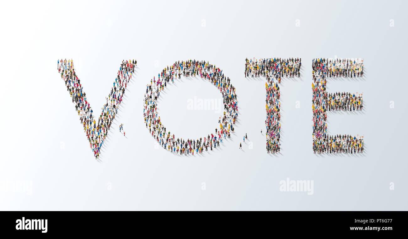 Konzept eine Versammlung von Menschen, die das Wort abstimmen, Abstimmung, Typografie, Schrift, Wahlurne, Wahl Stockbild