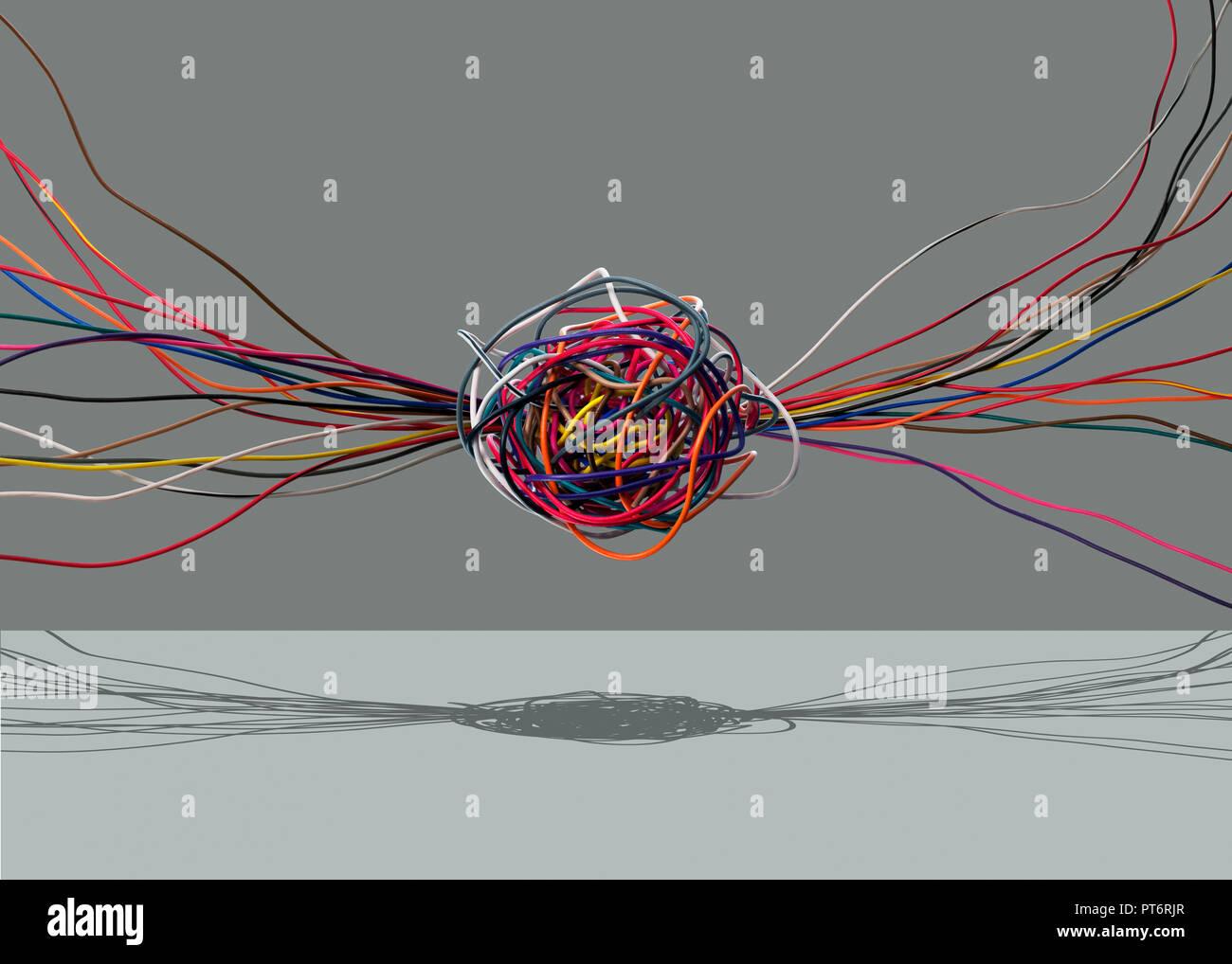 Konzept Farbe Kabel und eine zentrale Verbindung, Konnektivität, verdrahtet, Zentrale Datenverarbeitung Stockbild