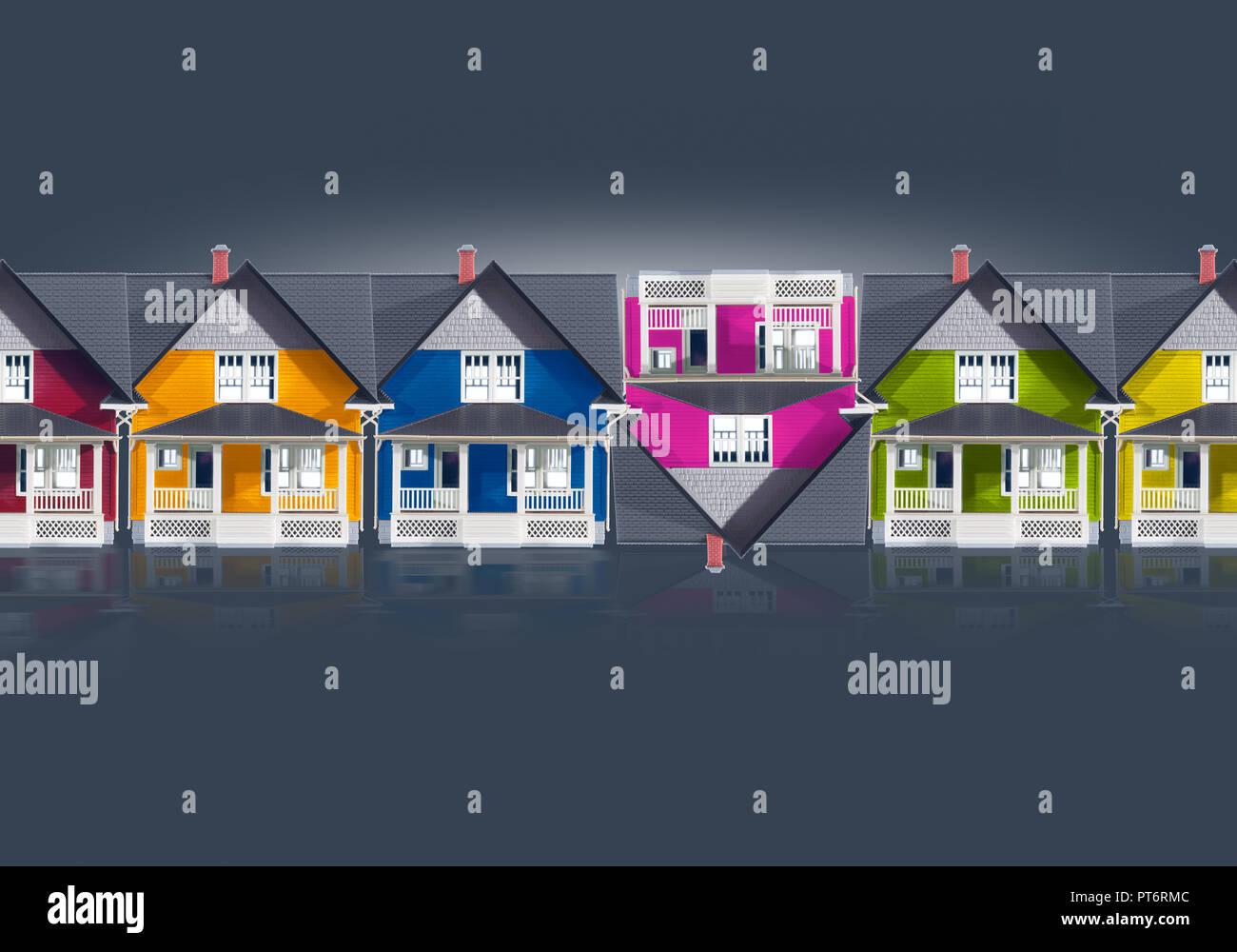 Konzept eine Reihe von farbigen Häuser Simulation von Oben nach Unten Pfeile, Haus, Immobilien, Finanzen, Hypothek Eigenkapital Stockbild