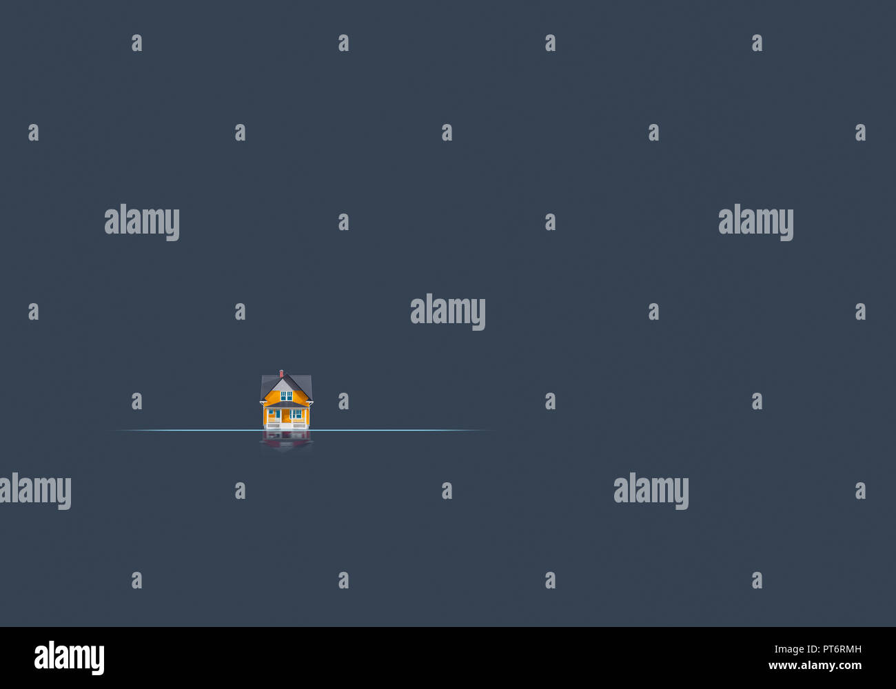Konzept eine kleine Orange Haus entfernte, unerreichbares Ziel, kleines Hotel Stockbild