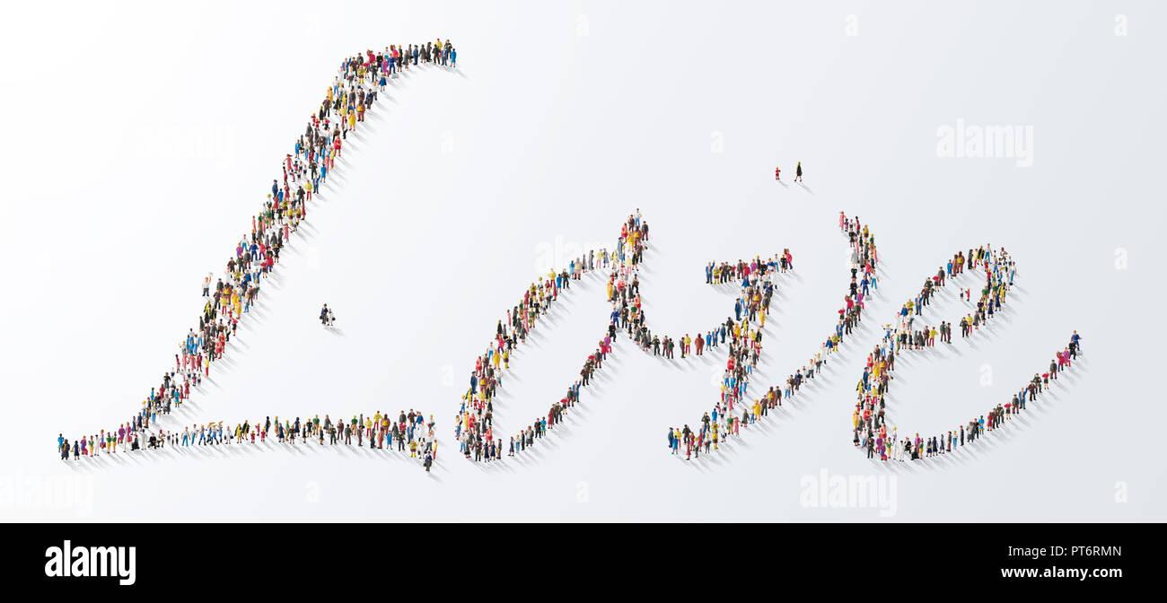 Konzept eine Versammlung von Menschen, die das Wort Liebe, Typografie, Schrift, Einheit, in der Liebe Stockbild