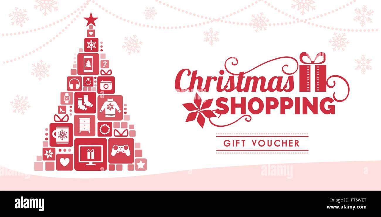 Gutschein Weihnachtsbaum.Christmas Shopping Rabatt Gutschein Mit Weihnachtsbaum Aus Schöne