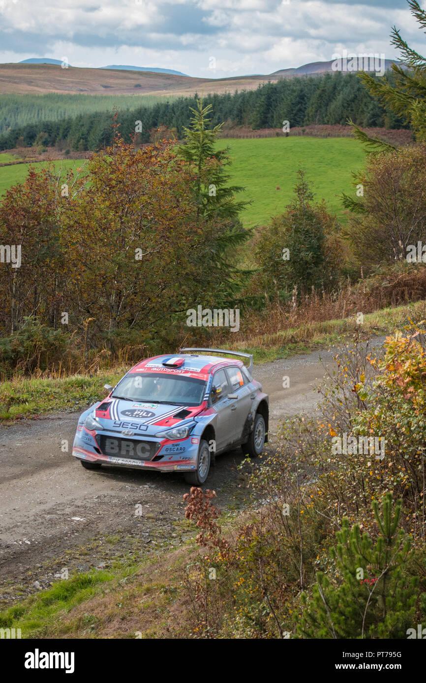 Dyfnant, UK. 6. Oktober 2018. Der Hyundai i20 R5 Rally Car von Pierre-Louis Loubet (Frankreich) mit der Geschwindigkeit auf dem Kies Waldwege, die Stufe 14 des 2018 Wales Rally von Großbritannien, durch den Wald in der Nähe von Dyfnant Welshpool, Powys, Wales Credit: Mike Hillman/Alamy leben Nachrichten Stockbild