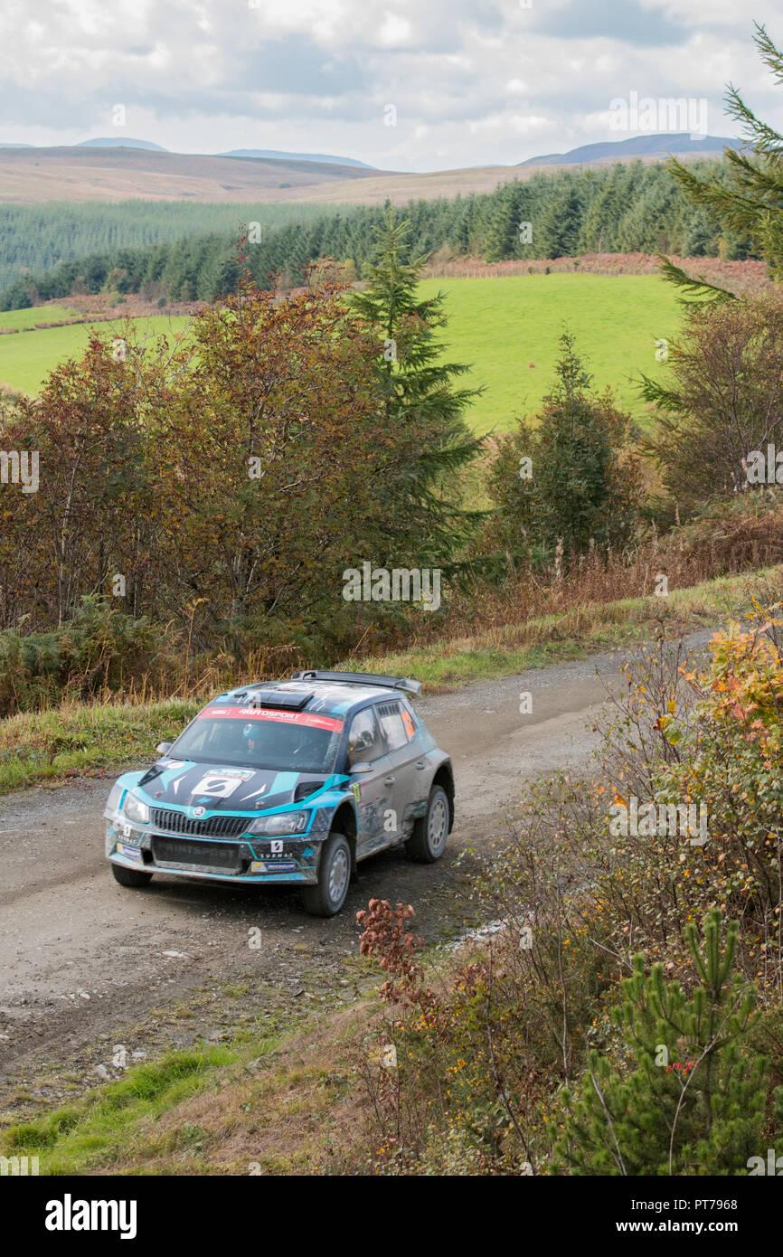 Dyfnant, UK. 6. Oktober 2018. Der Skoda Fabia R5 Rally Car von lucasz Pieniazek (Polen) mit der Geschwindigkeit auf dem Kies Waldwege, die Stufe 14 des 2018 Wales Rally von Großbritannien, durch den Wald in der Nähe von Dyfnant Welshpool, Powys, Wales Credit: Mike Hillman/Alamy leben Nachrichten Stockbild