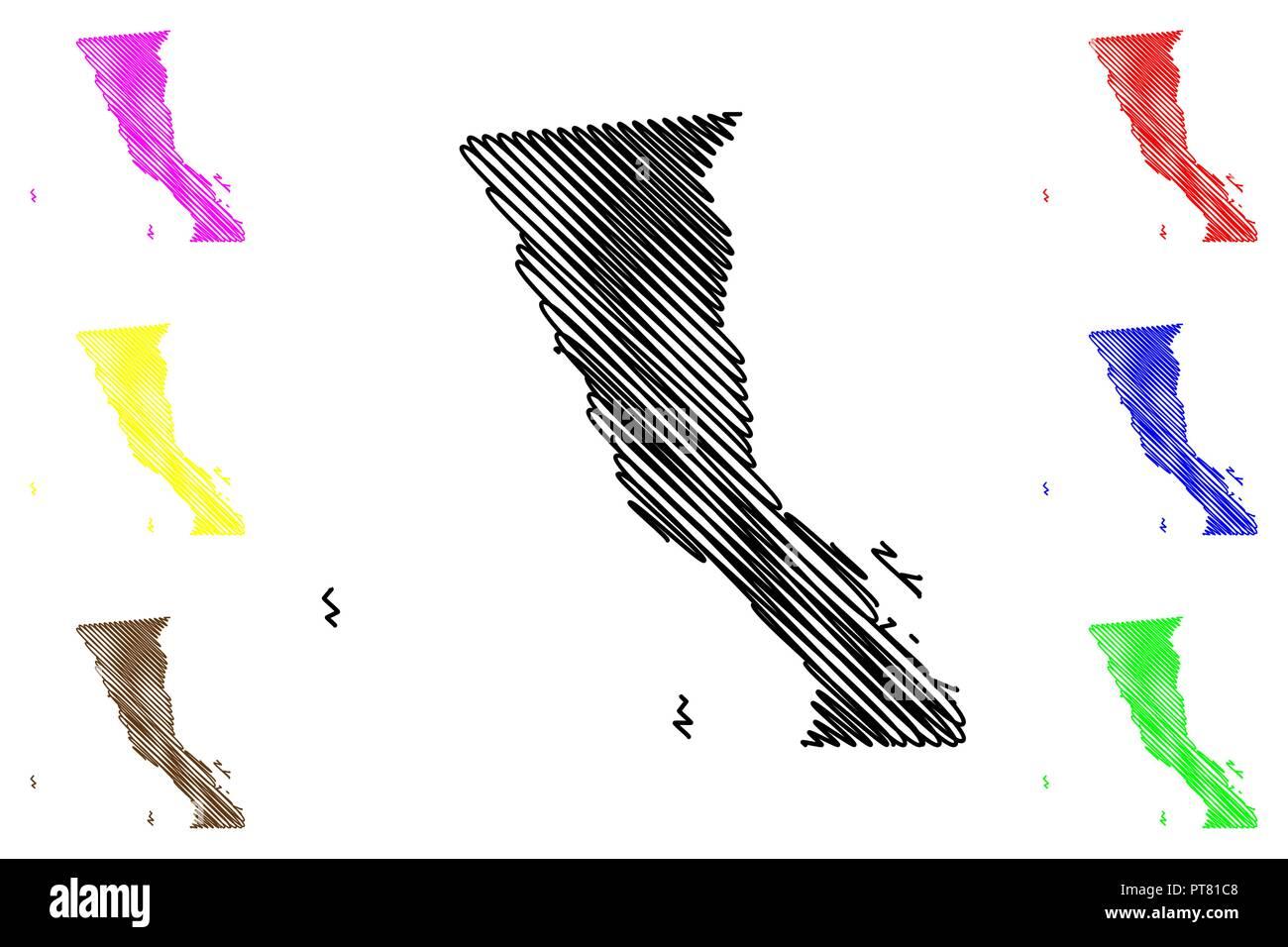 Mexiko Staaten Karte.Baja Kalifornien Vereinigte Mexikanische Staaten Mexiko