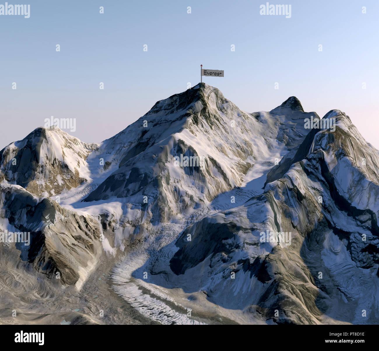Himalaya Berge Karte.Mount Everest Relief Hohe In Den Bergen Himalaya Karte