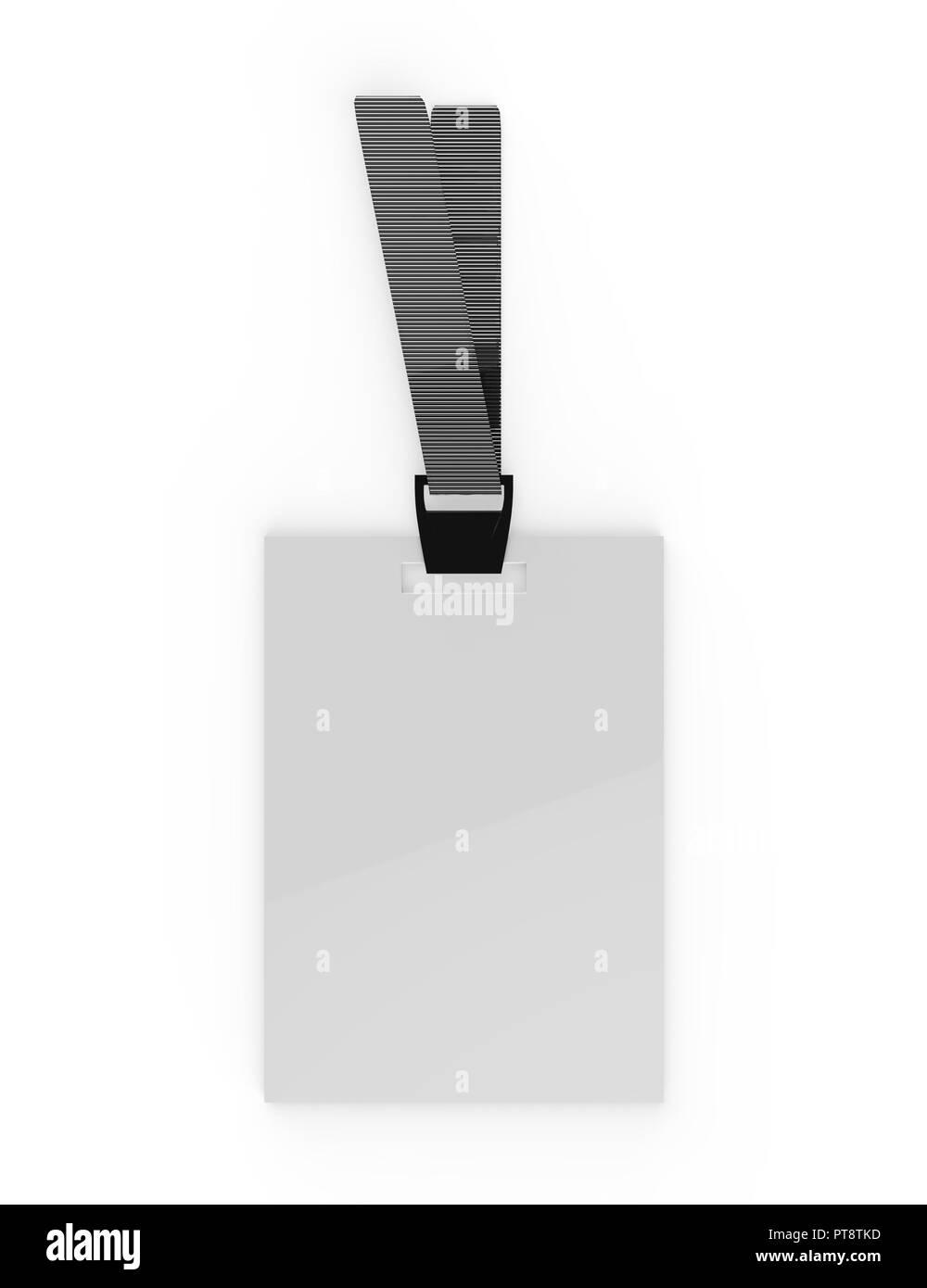 Realistische leer Personalausweis, Abzeichen & Biometrische Karte mit Blue Ribbon Mock-Up auf isolierten weißen Hintergrund, 3D-Darstellung Stockbild