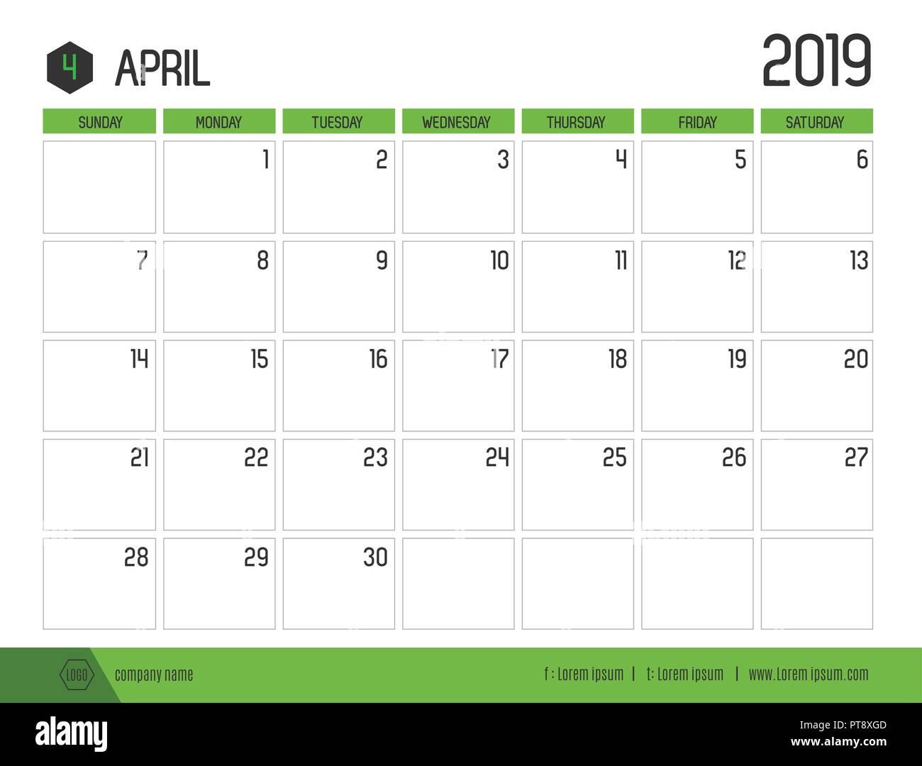 der vektor der moderne gr ne kalender 2019 april in. Black Bedroom Furniture Sets. Home Design Ideas