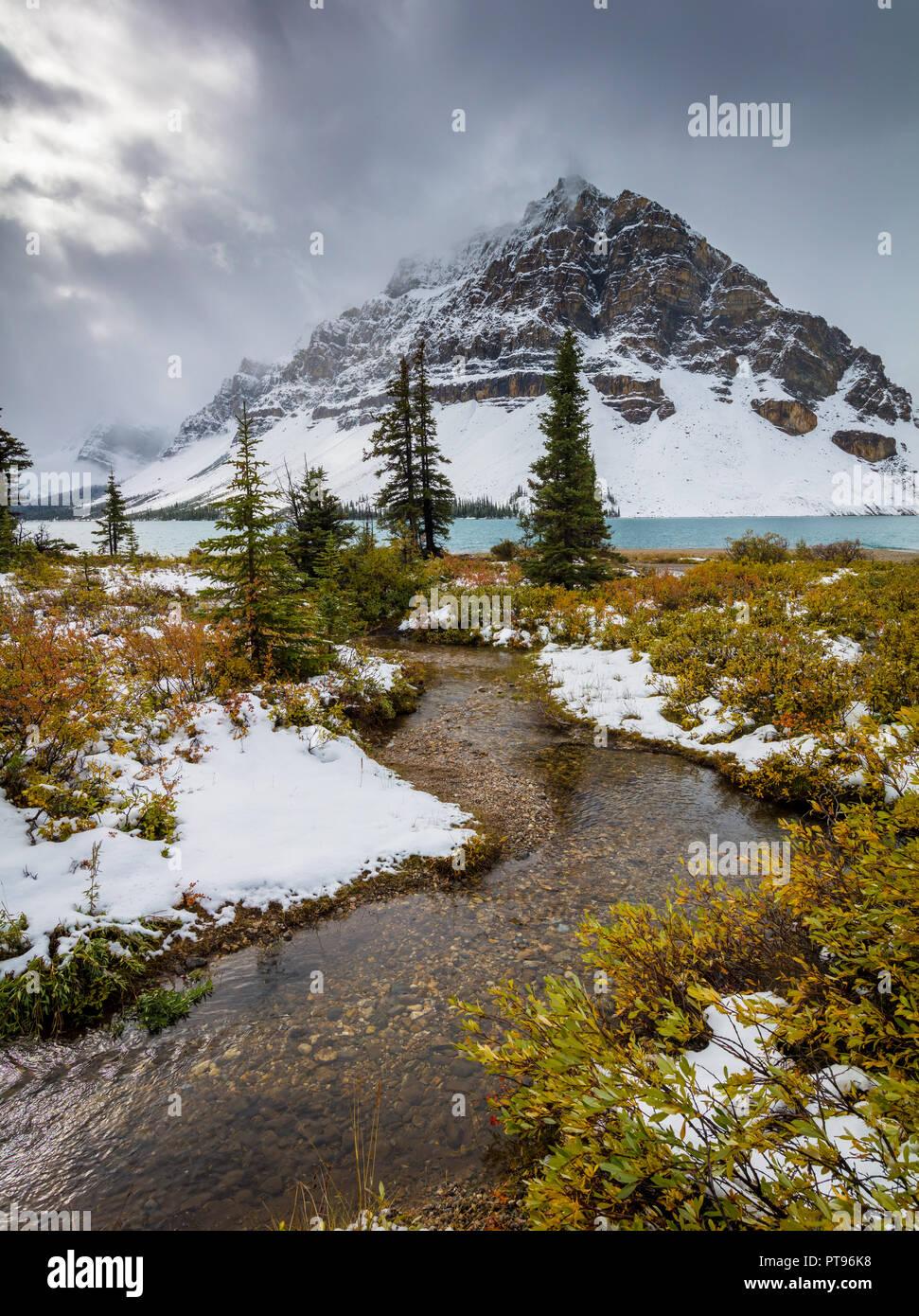 Bow Lake ist ein See im westlichen Alberta, Kanada. Es ist auf dem Bow River gelegen, in die kanadischen Rocky Mountains, auf einer Höhe von 1920 m. Der See liegt Stockbild