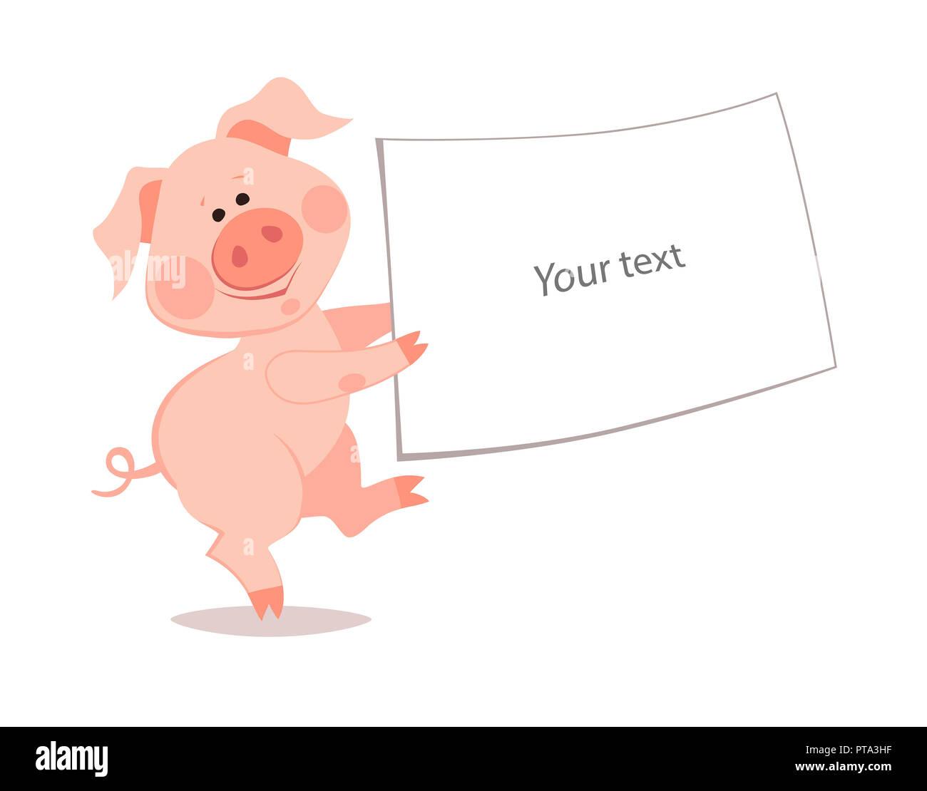 Cartoon kleines Schwein. Das Jahr des Schweins. Das chinesische ...