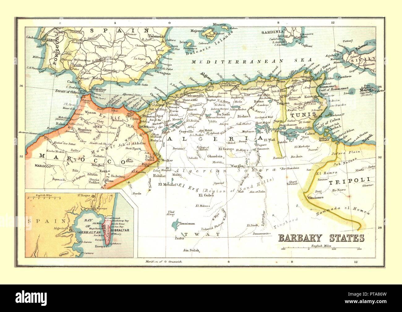 Tunesien Karte Welt.Karte Der Barbary States 1902 Ubersicht Marokko Algerien