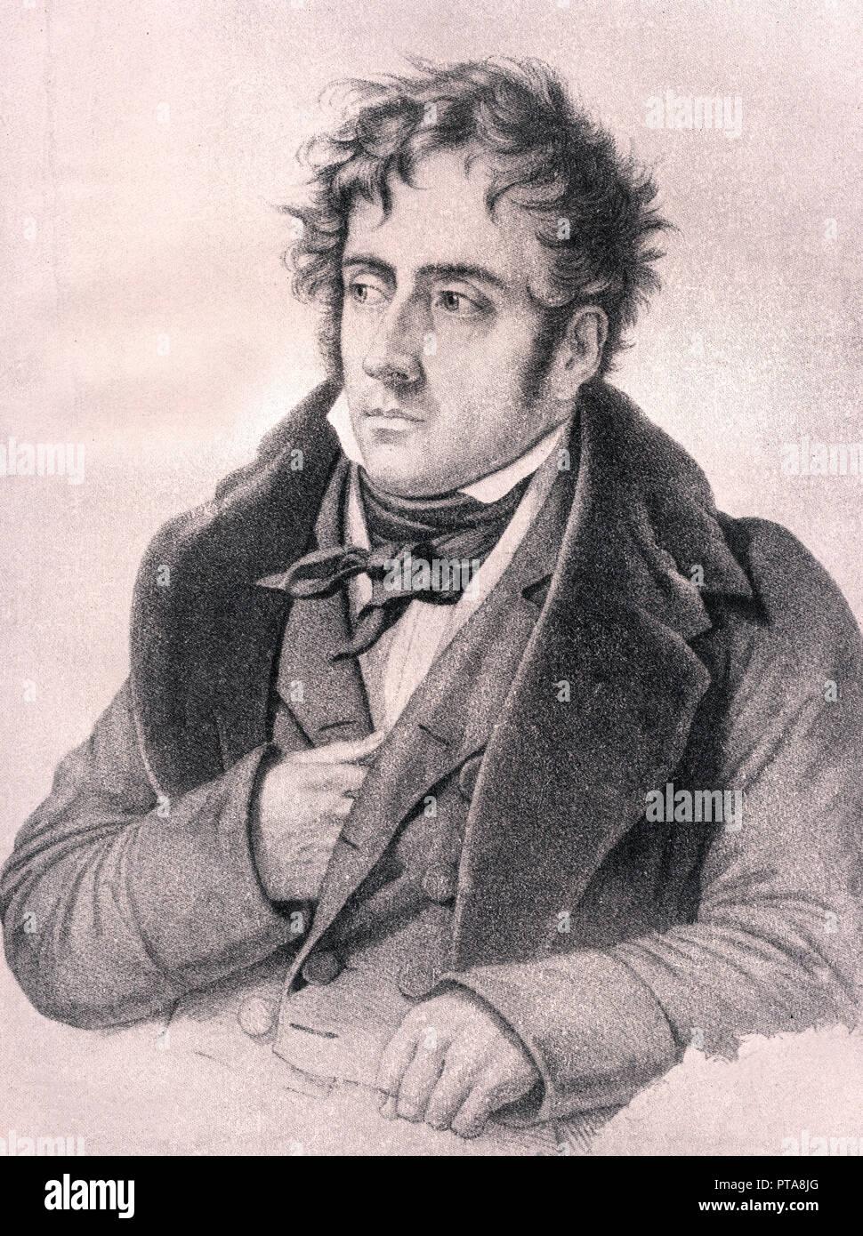 François René de Chateaubriand - französischer Schriftsteller, Politiker und Diplomat, ultra-Royalistischen, Viscount, Französisch Peer, konservativ, einer der ersten represe Stockbild