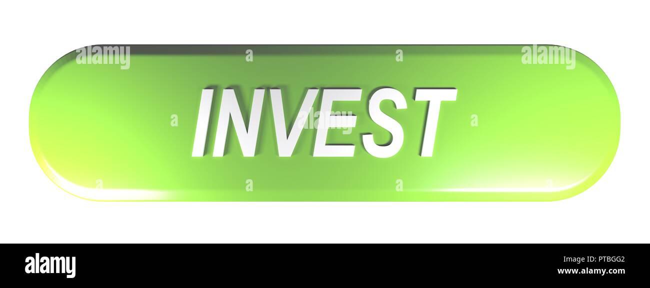 Grüne abgerundetes Rechteck Push Button investieren - 3D-Rendering Stockbild