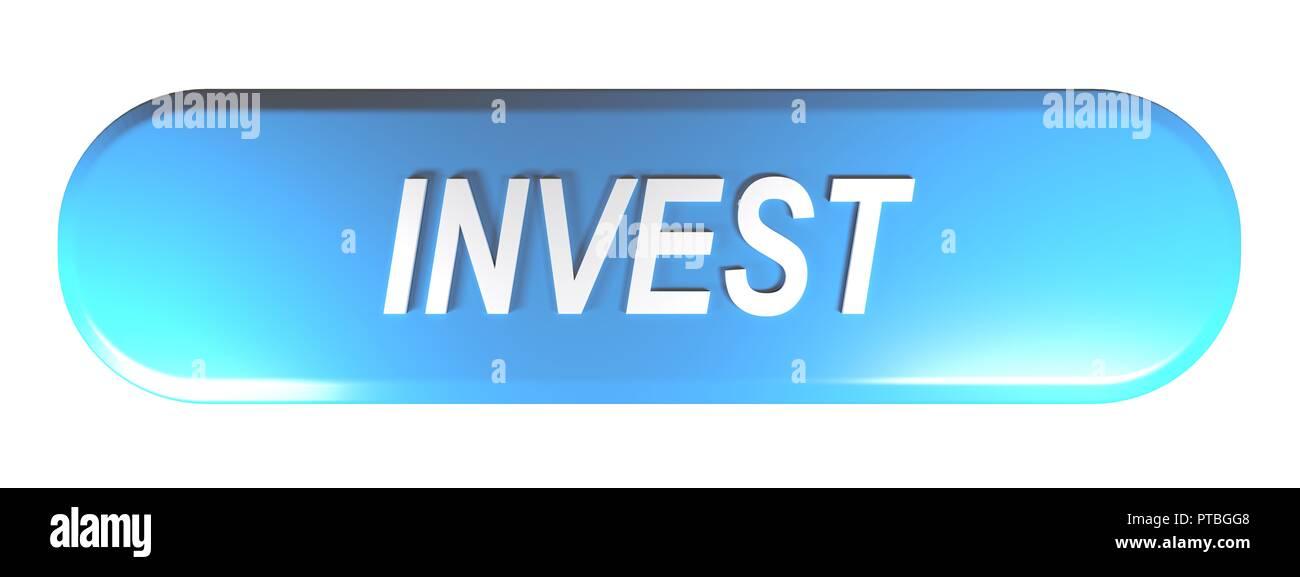 Blaue Rechteck mit abgerundeten Ecken Push Button investieren - 3D-Rendering Stockbild