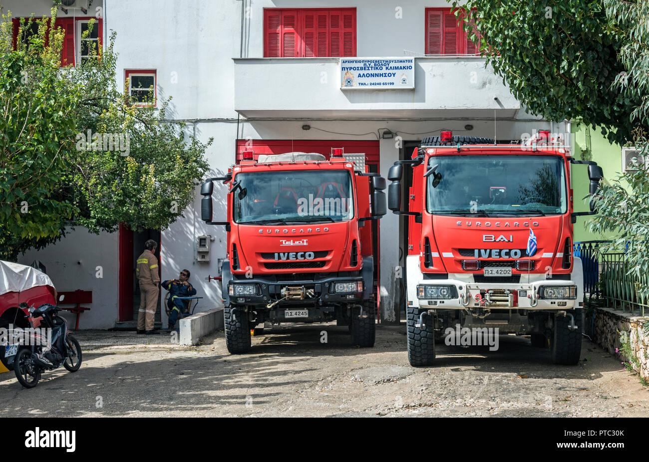 Feuerwache in Patitiri, Alonissos, Nördliche Sporaden Griechenland. Stockfoto