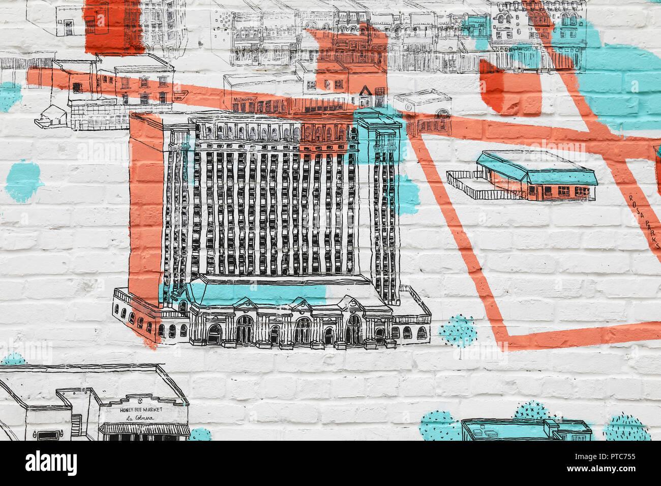 Darstellung der historischen Michigan Central Station, 1988 geschlossen, nun gekauft von der Ford Motor Company, die zur Restaurierung, in Corktown, Michigan, USA Stockbild
