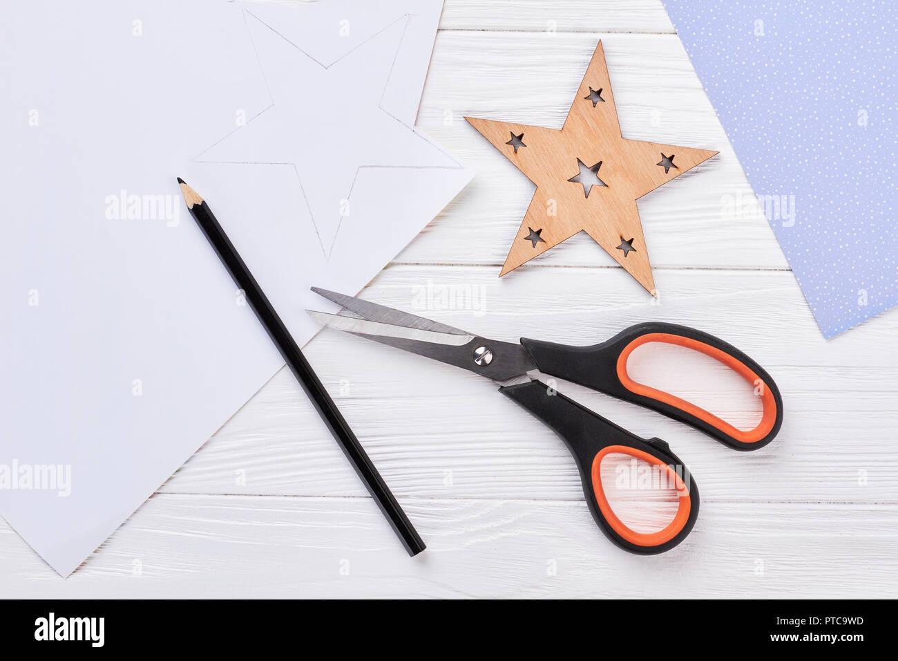 Schere Bleistift Weihnachten Stern Vorlage Von