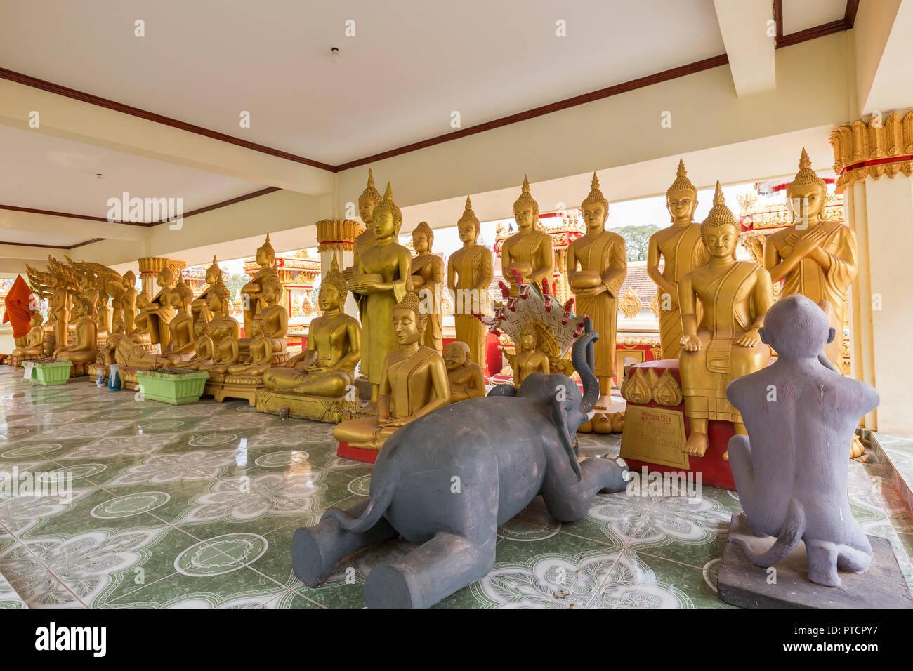 Zwei tierische Skulpturen und viele vergoldeten Buddha Statuen am Tai Tempel Wat That Luang in Vientiane, Laos. Stockbild
