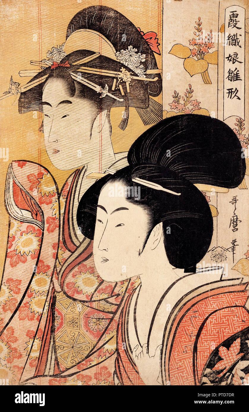 Kitagawa Utamaro, zwei Schönheiten mit Bambus, ca. 1795, Holzschnitt auf Papier druckt, Kupferstichkabinett Berlin, Deutschland. Stockbild