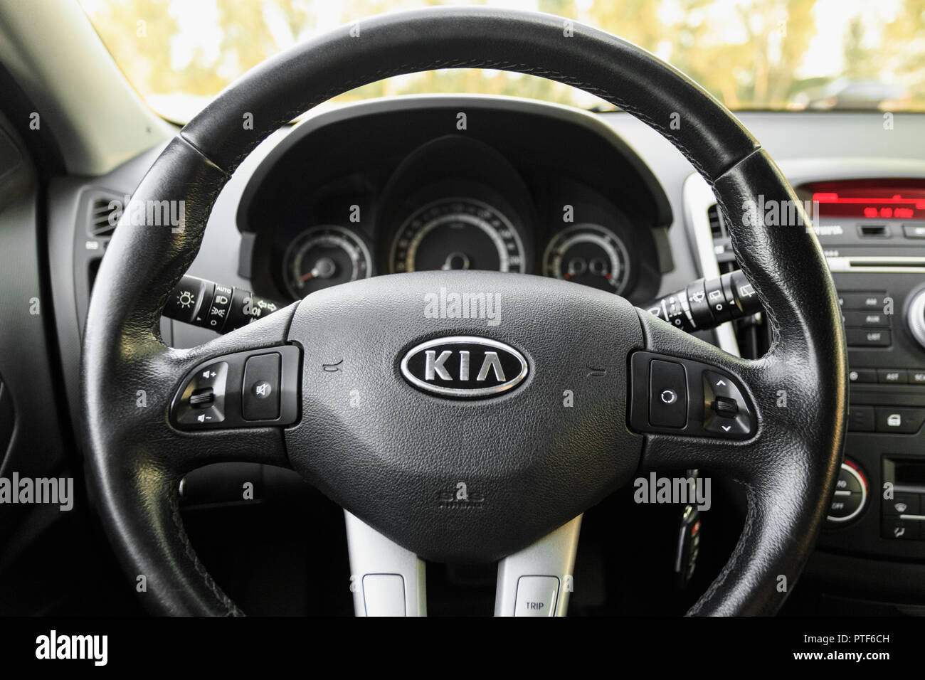 dnipro ukraine september 05 2017 kia ceed interieur rad close up