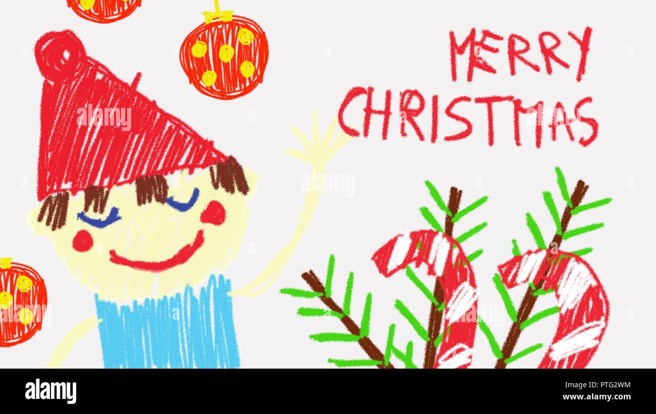 Animation Frohe Weihnachten.Frohe Weihnachten Animation Mit Filzstiften Durch Ein Kind Sehr