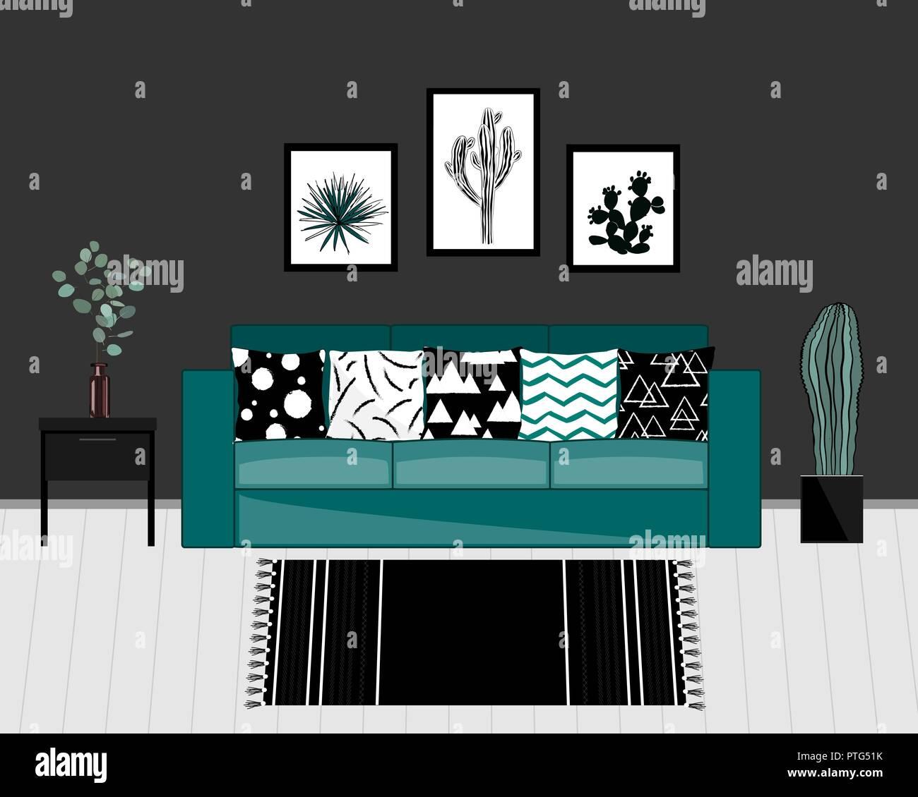 Wohnzimmer Einrichtung Im Skandinavischen Stil Mit Schwarzen Und