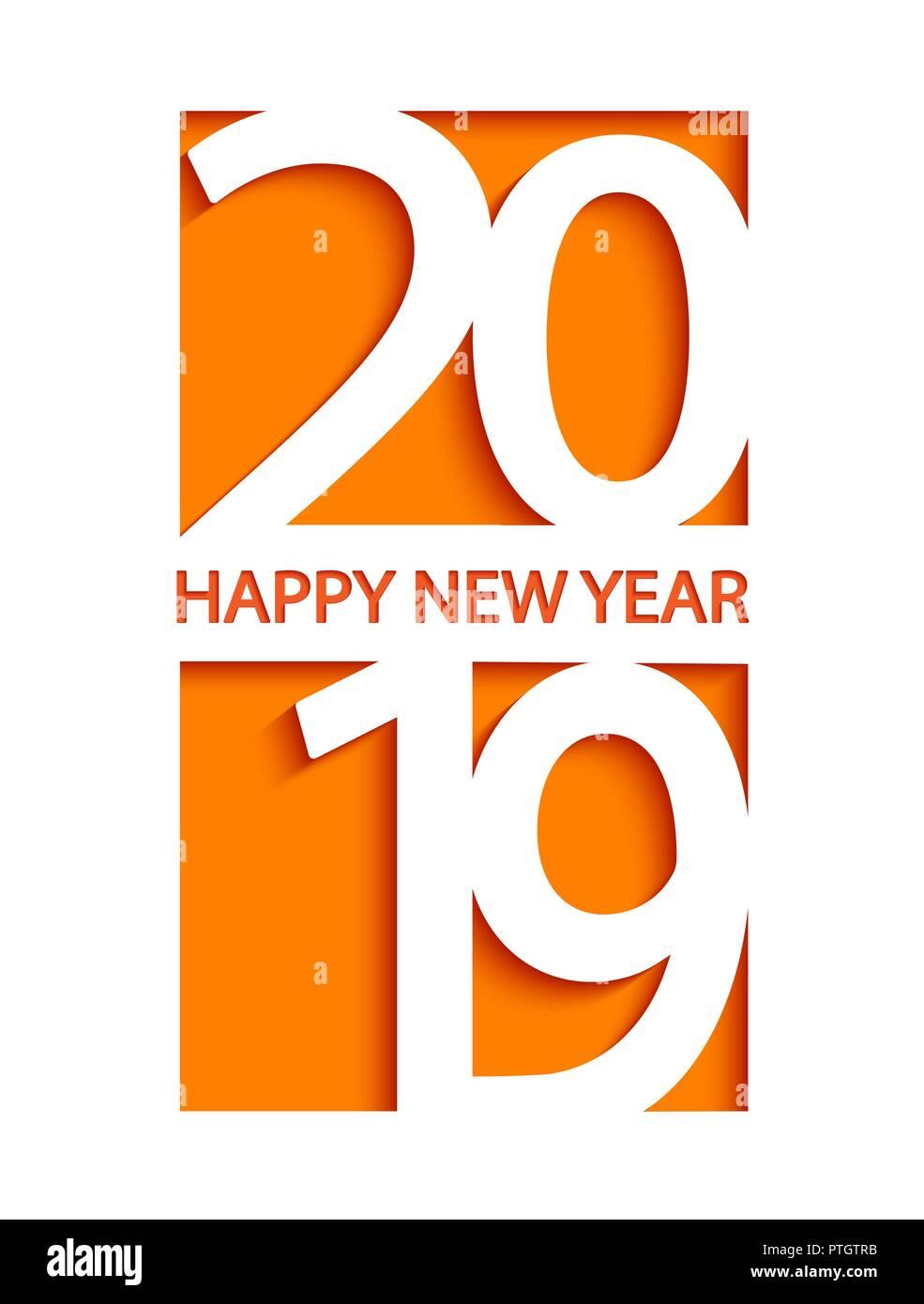 2019 Frohes Neues Jahr creative Card Design für Begrüßungen, Flyer ...