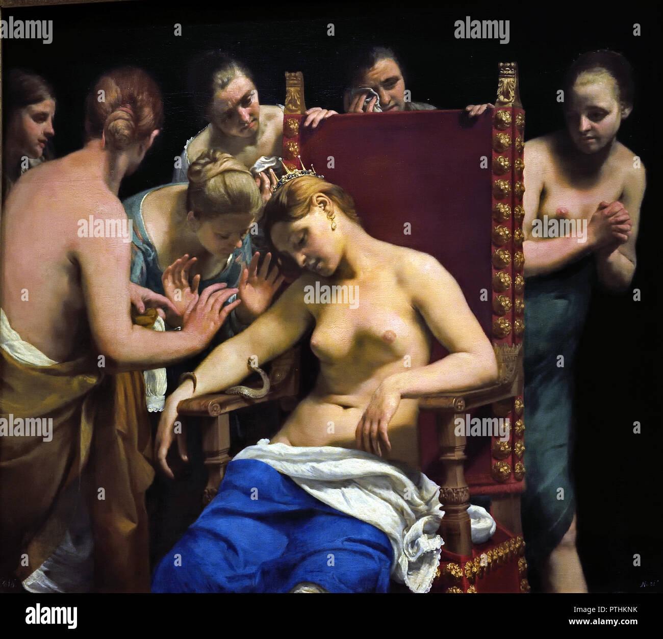 Der Tod der Kleopatra VII., Herrscher des ptolemäischen Ägypten, trat auf entweder 30 v. Chr. in Alexandria, als sie 39 Jahre alt war. Cleopatra Selbstmord begangen, indem es einen Asp (ägyptische Kobra), sie zu beissen. Guido Cagnacci 1601-1663 Italien, Italienisch. (Königin der ptolemäischen Reich) (Kleopatra VII Philopator 69 - 30 v. Chr. Pharao Ägypten) Stockbild
