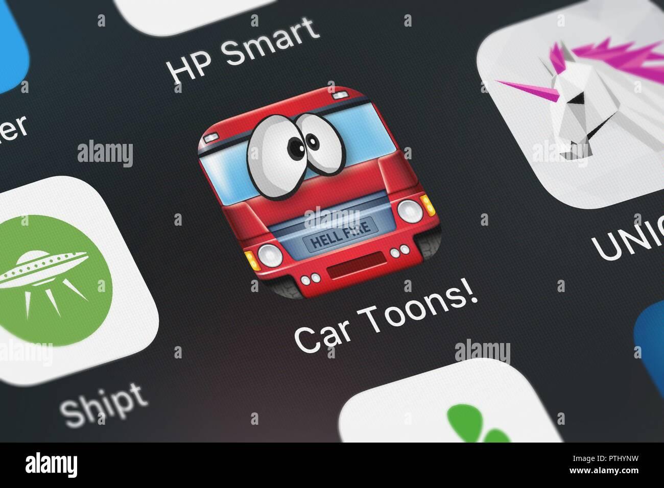 London, Großbritannien - 09 Oktober, 2018: Screenshot der FDG Mobile Games GbR mobile App Auto Toons. Stockbild