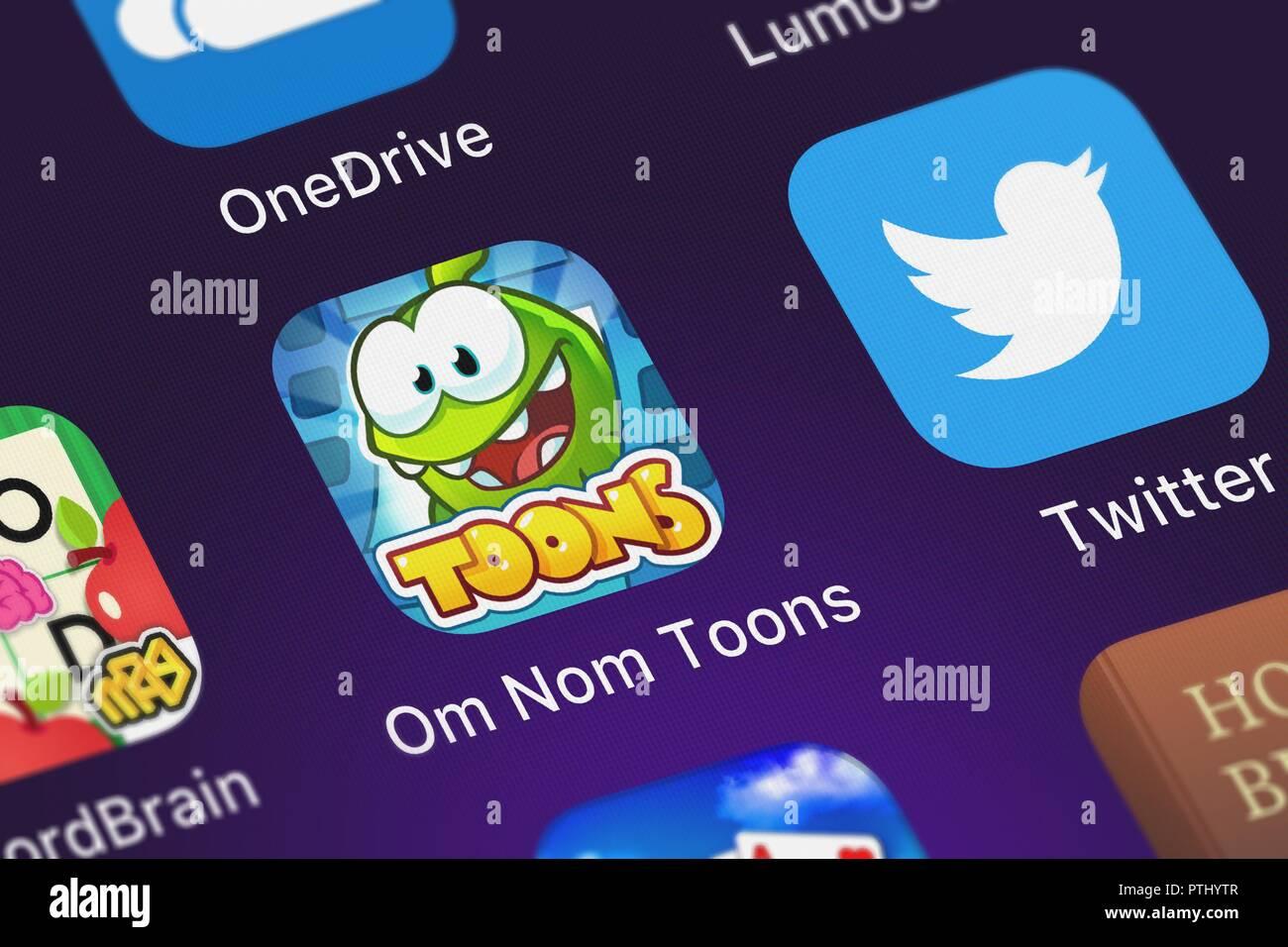 London, Großbritannien - 09 Oktober, 2018: Die Om nom Toons mobile App von ZeptoLab UK Limited auf einem iPhone Bildschirm. Stockbild