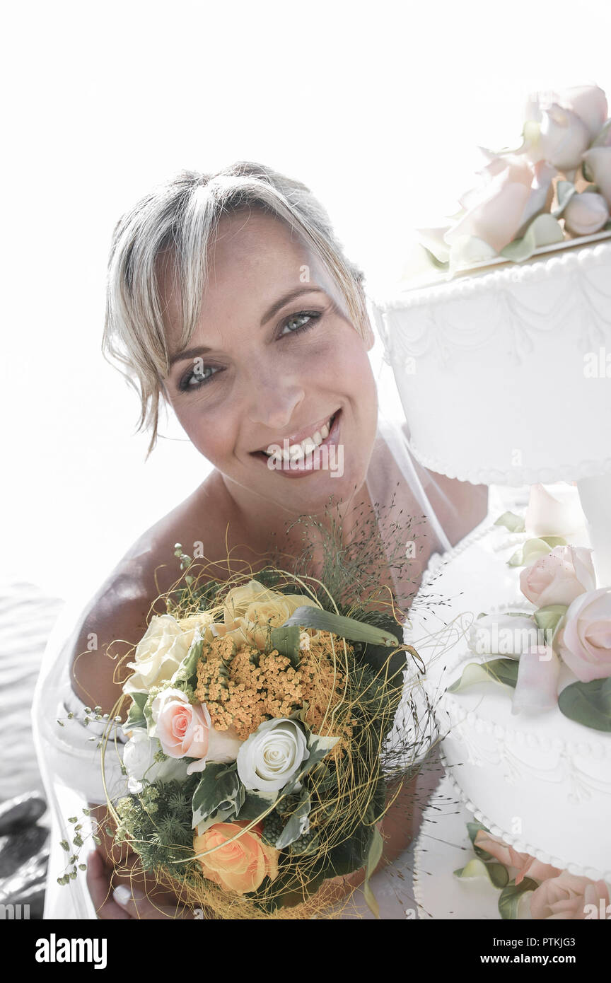 Braut Portrat Aussen Sommer Hochzeit Heirat Eheschliessung