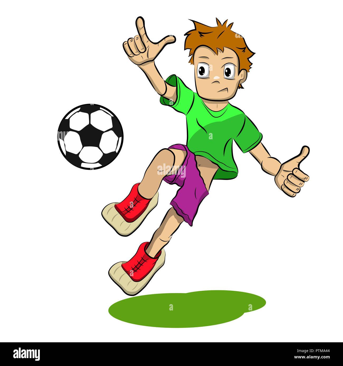 Stock Illustration Comic Fussball Spieler Auf Weissem