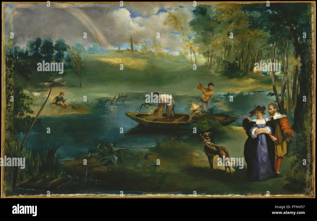 """Angeln. Artist: Édouard Manet (Französisch, Paris 1832-1883 Paris). Abmessungen: 30 1/4 x 48 1/2 in. (76,8 x 123,2 cm). Datum: Ca. 1862-63. Nach Elemente in Landschaften von Peter Paul Rubens Gemusterten, die gegenwärtige Malerei gibt Währung zu Delacroix Empfehlung an Manet: """"Rubens, Inspiration, Kopieren von Rubens Rubens. Rubens war Gott."""" Manet und seine zukünftige Frau, Suzanne Leenhoff, sind das Paar an der unteren rechten im siebzehnten Jahrhundert Kostüm und Posierten wie Rubens und seine Frau in der flämischen Maler <i> Park des Château de Steen</i> (Kunsthistorisches Museum, Wien). Als Ma Stockfoto"""