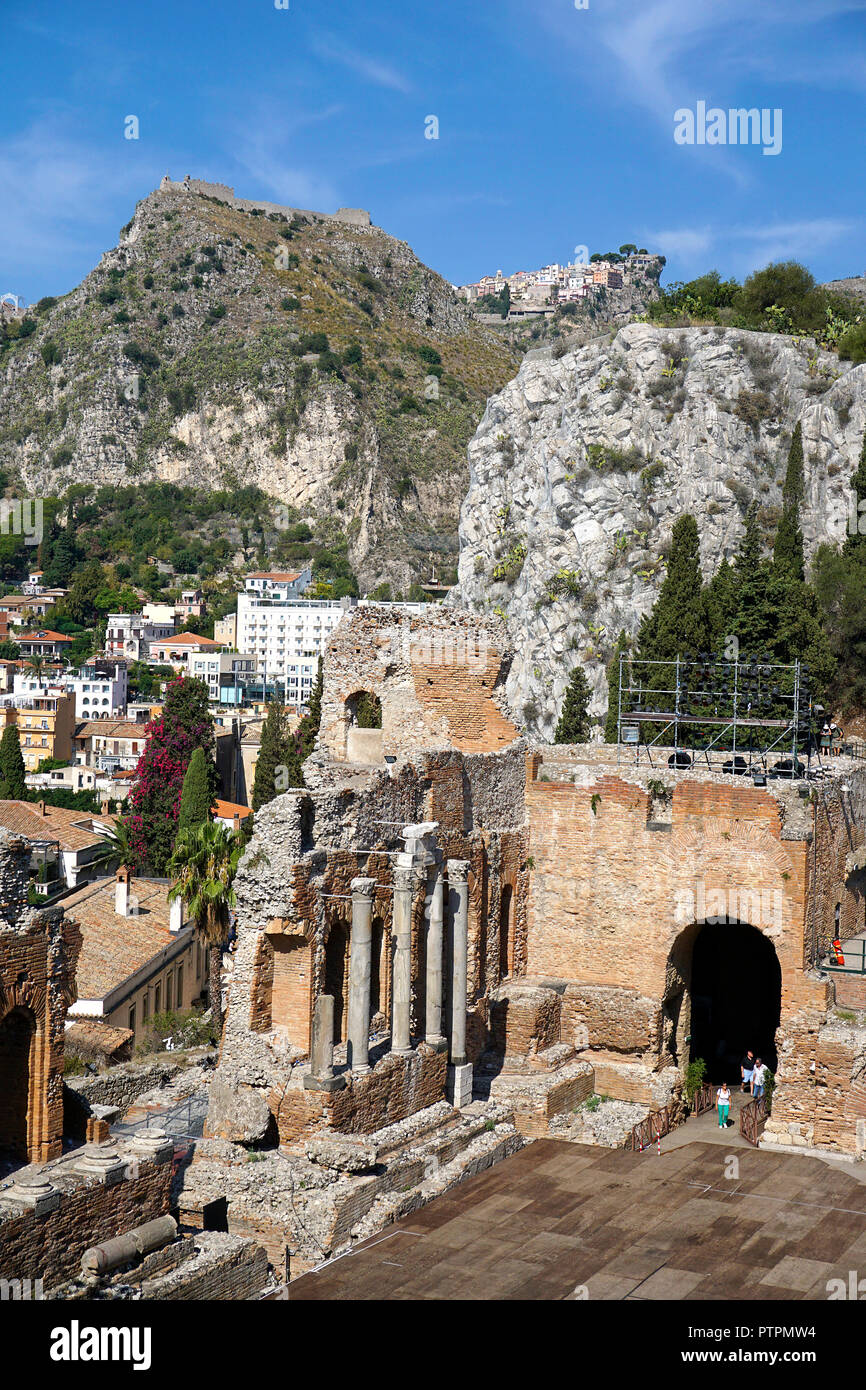 Die antike griechisch-römische Theater von Taormina, Sizilien, Italien Stockbild