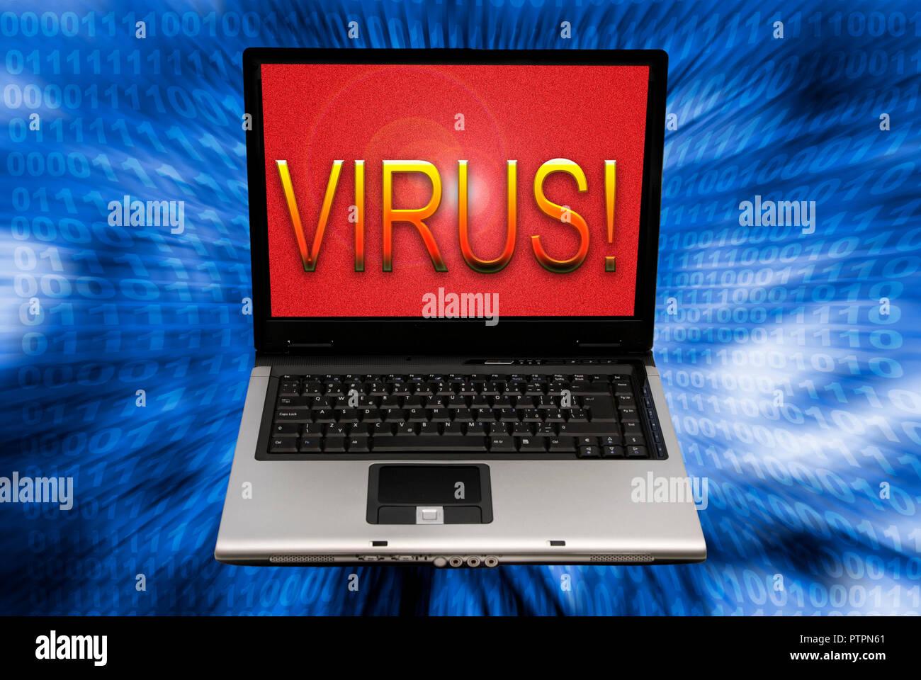 Laptop mit Wort Virus auf dem Bildschirm Stockbild