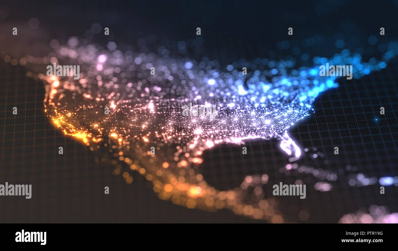 Dunkle Erde Karte mit glühenden Details der Stadt und der menschlichen Bevölkerung Dichte Bereiche. Blick von Amerika. 3D-Darstellung Stockbild