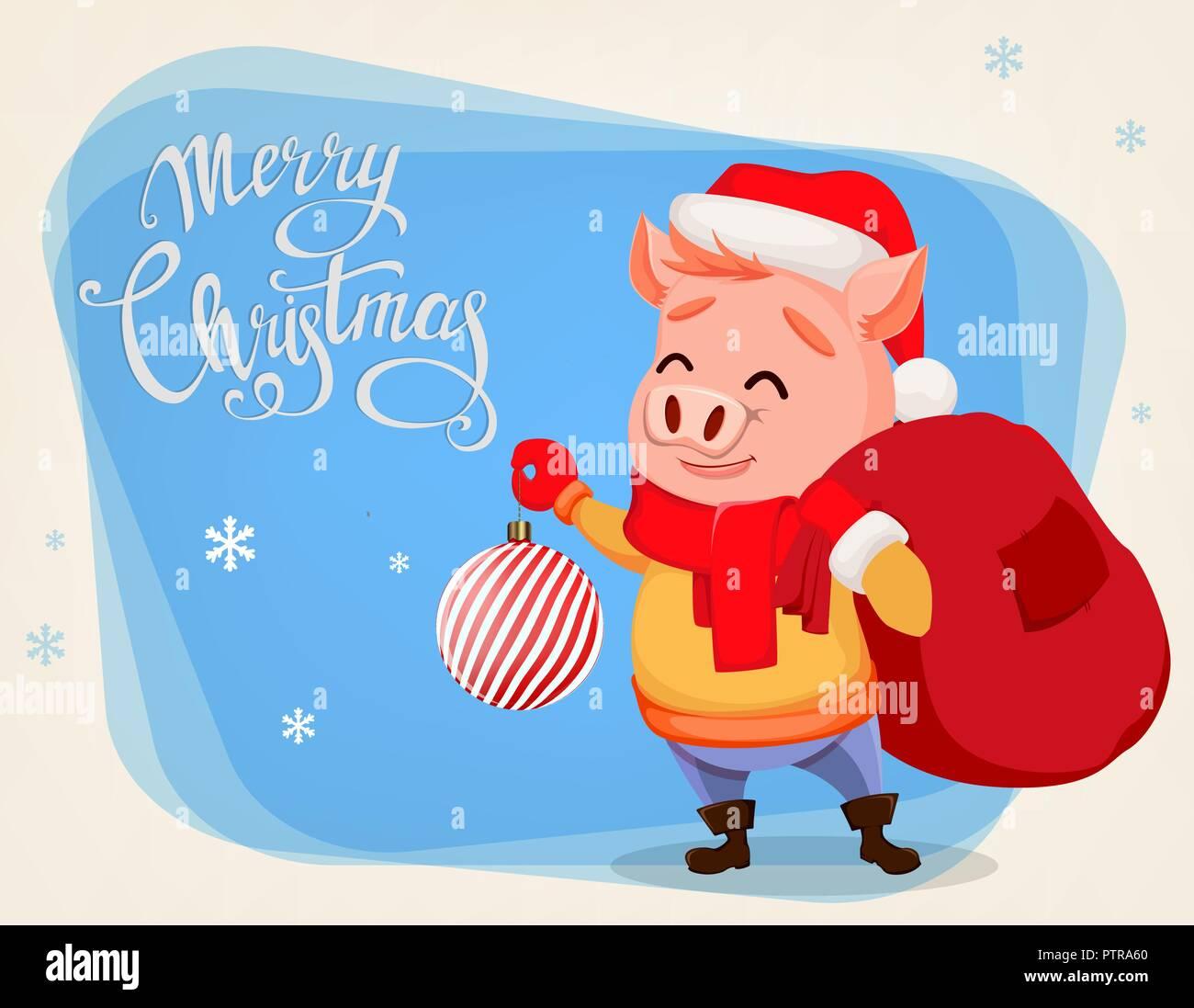 Frohe Weihnachten Grusskarte Mit Niedlichen Schwein Tragen