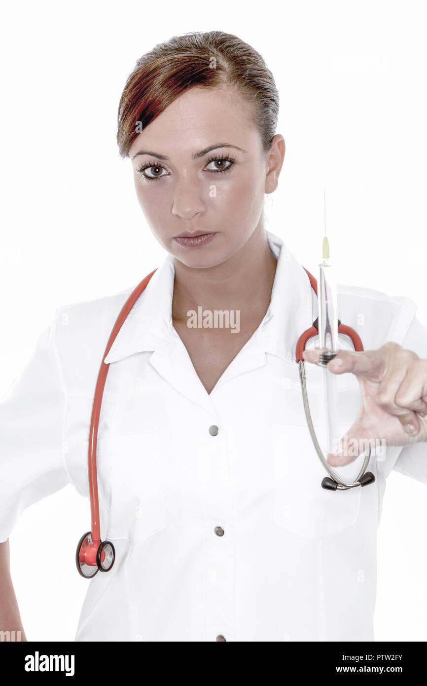 Aerztin, Stethoskop, Menschen, Frau, Arztkittel, Arbeit, Beruf, Heilberuf, Medizinerin, Symbol, Gesundheit, Krankheit, Medizin, Gesundheitswesen, Kran Stockbild