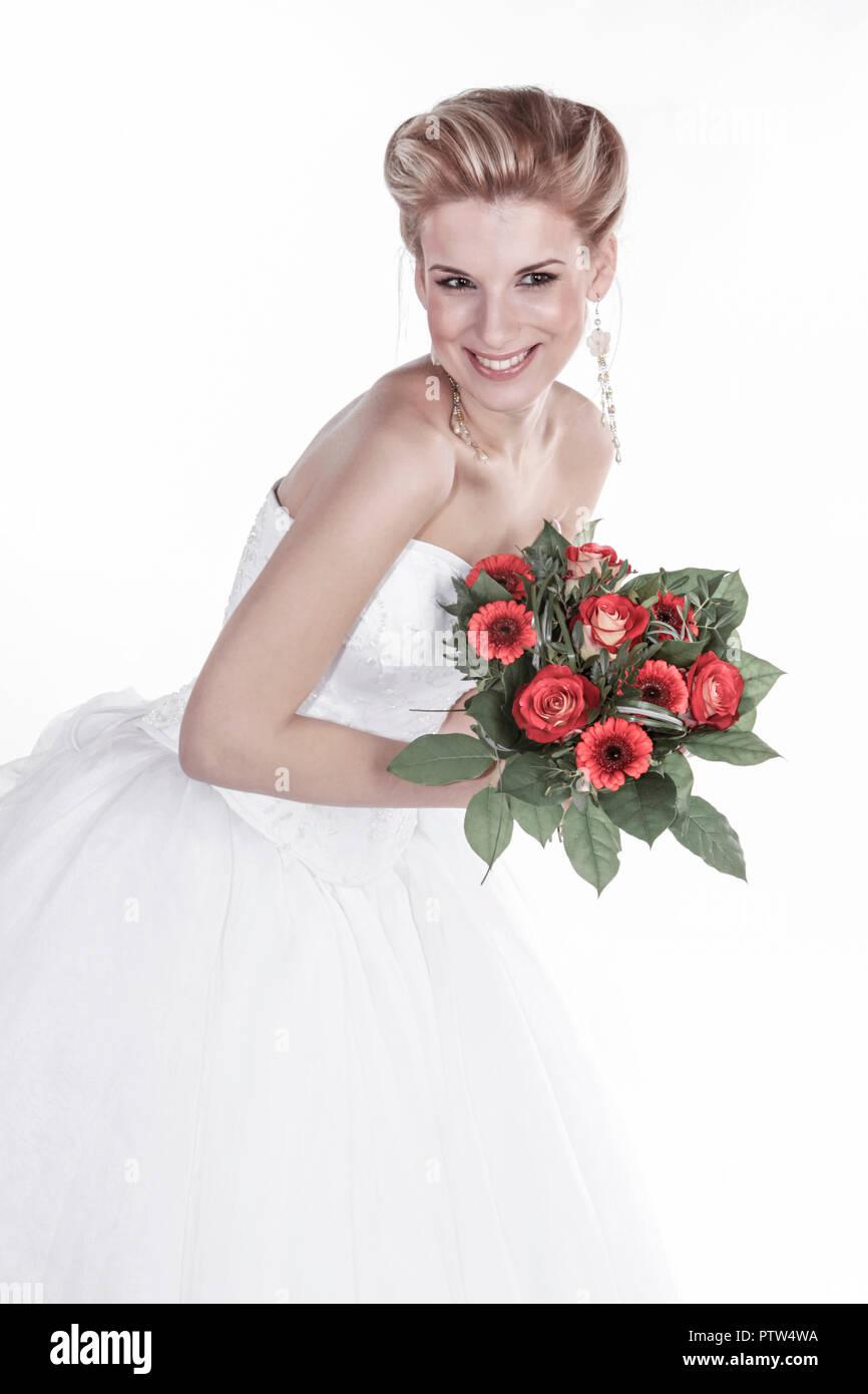 Braut, Hochzeit, Glueck, Gluecklich, Heirat, Heiraten, Wir bei Ebay, Strauss Brautstrauss, Hochzeitsstrauss, Blumen, Romantik (modellfreigabe) Stockbild
