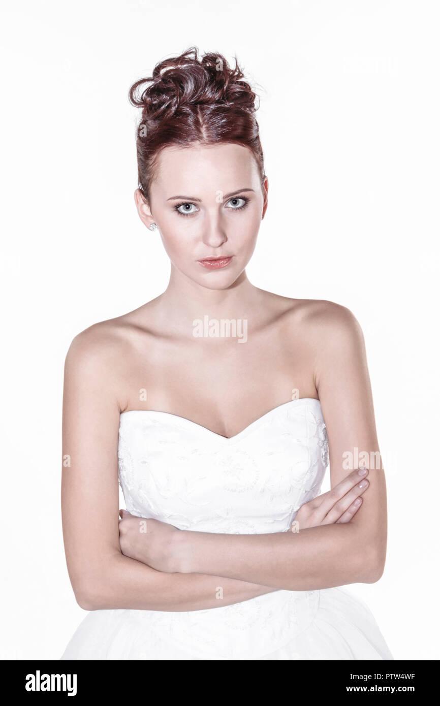 Fotoarbeit, Brautkleid, Hochzeit, Heirat, Jahrmarktssängerin Romantik (Modellfreigabe) Stockbild