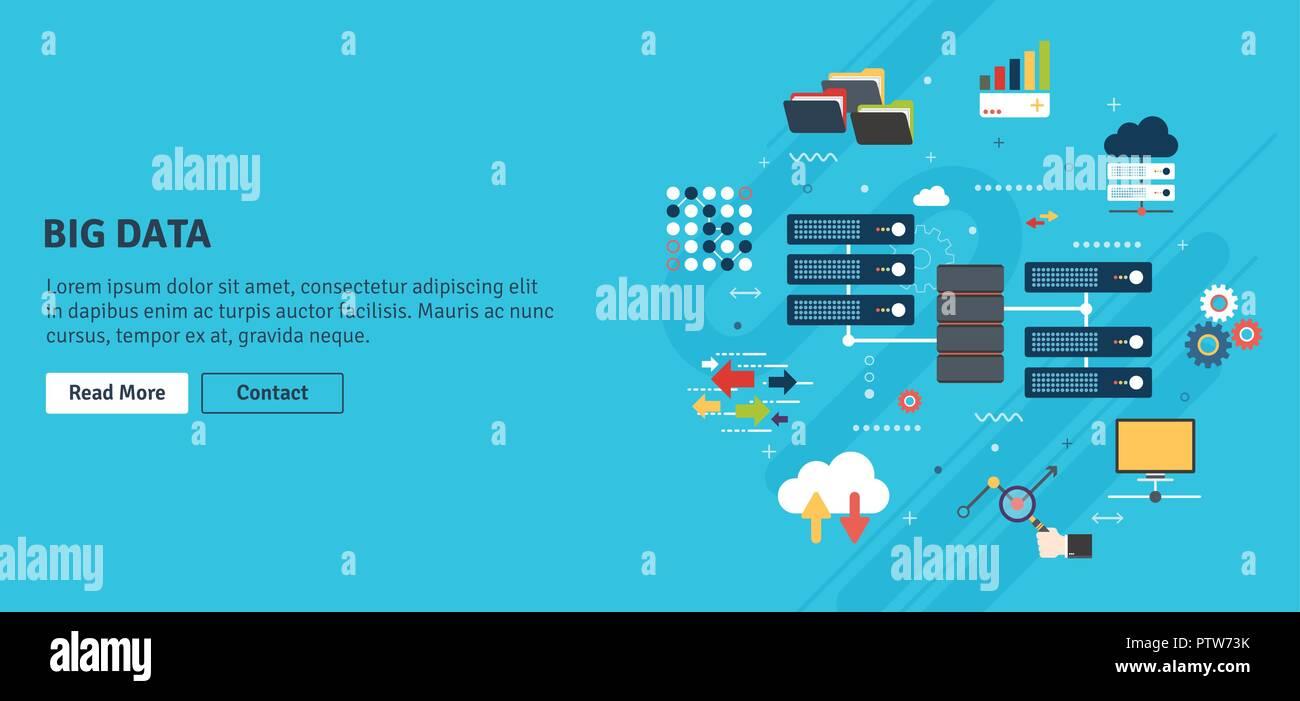 Netzwerk Server Von Computern Und Business Intelligence Database Data Security System Backup Traffic Analyse Big Cloud Computing Banner Conc