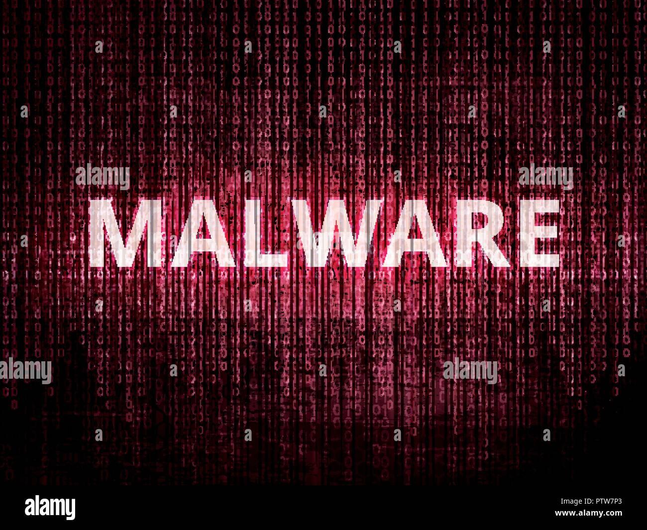 Text Malware auf dem Hintergrund mit binären Codierung in Rot. Konzept der Verletzung der Privatsphäre, Hacker Angriff, computer Angriff durch Viren, ransomware, Malware Stockbild