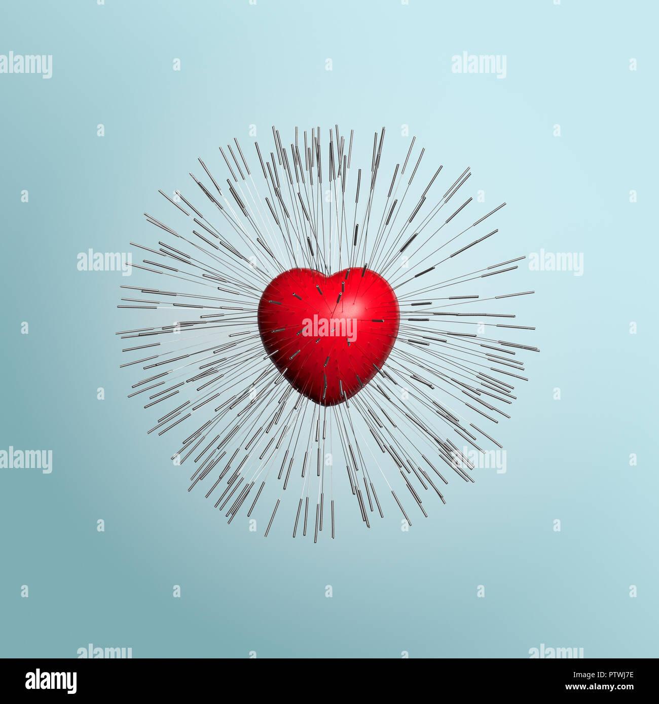 Rotes Herz Form mit Akupunktur Nadeln gesteckt Stockbild