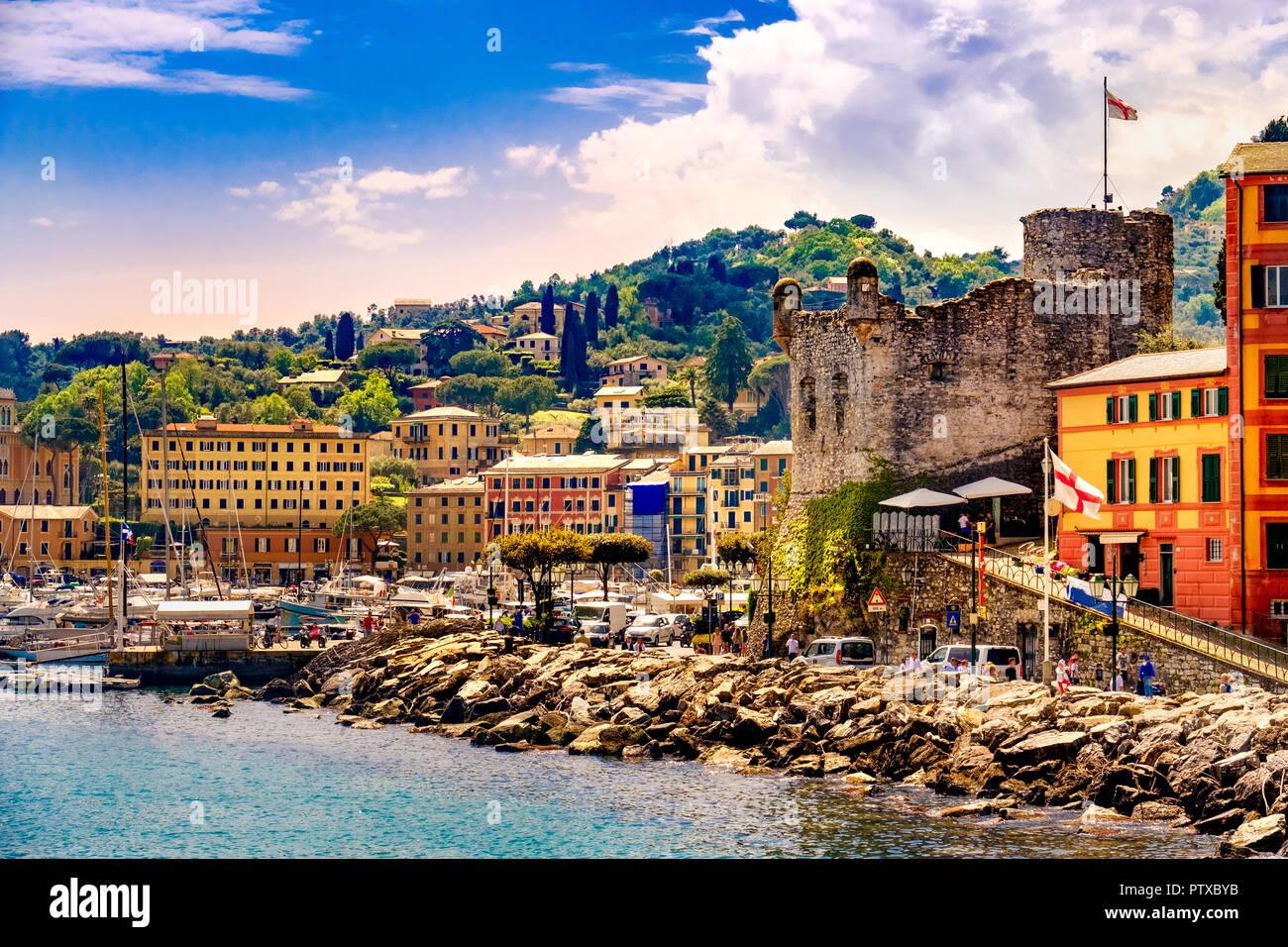 Italienische Riviera Landschaft Santa Margherita Ligure schloss Italien Stockbild