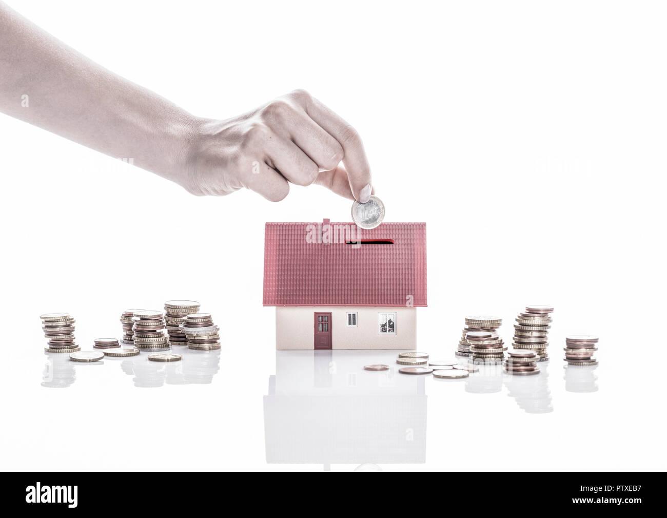 Spardose Eigenheim (Model-Release) Stockbild