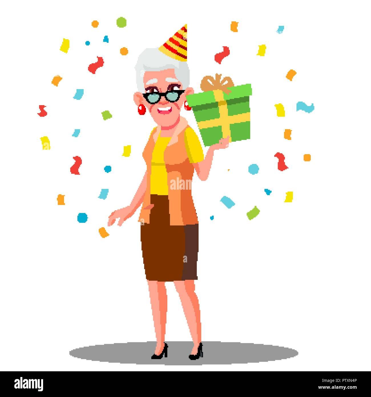 Lustige Alte Frau Geburtstag Feiern In Der Partei Kappen Und