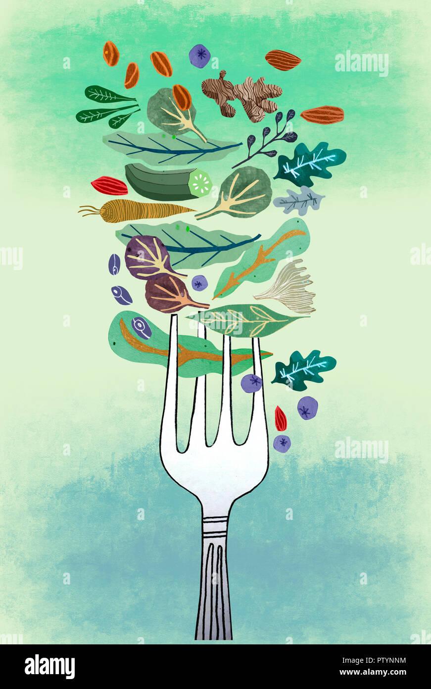 Verschiedene Arten von gesunden Niedrigkohlenhydrat Gemüse fallen auf eine Gabel Stockbild